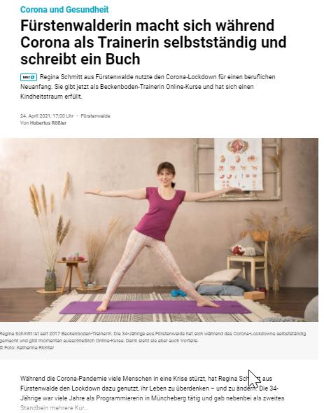Pressebeitrag MOZ Märkische Oderzeitung Regina Schmitt