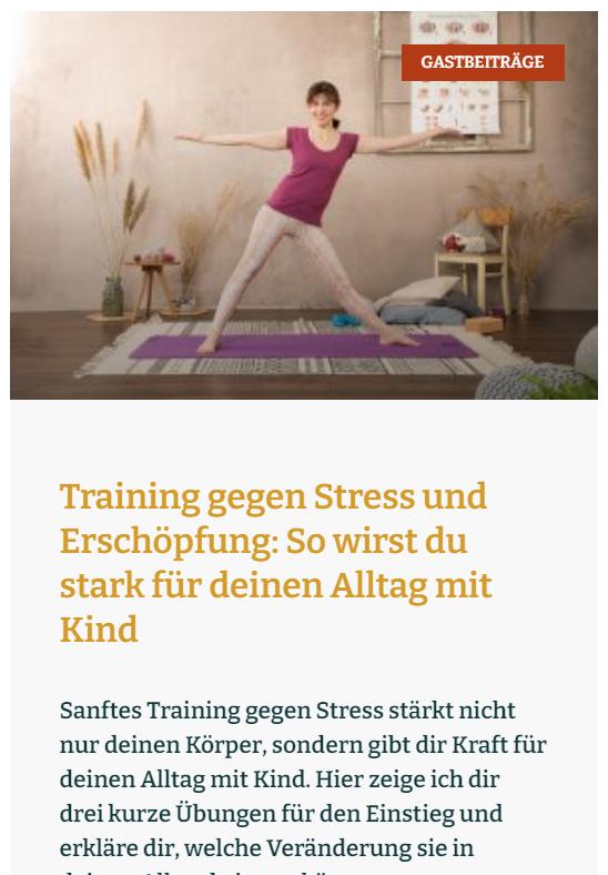 Gastartikel von Regina Schmitt bei familiengarten.org: Training gegen Stress und Erschöpfung